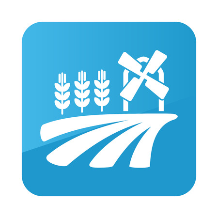 grain fields: Field with a mill and wheat icon outline. Field. Farm. Vector illustration Illustration
