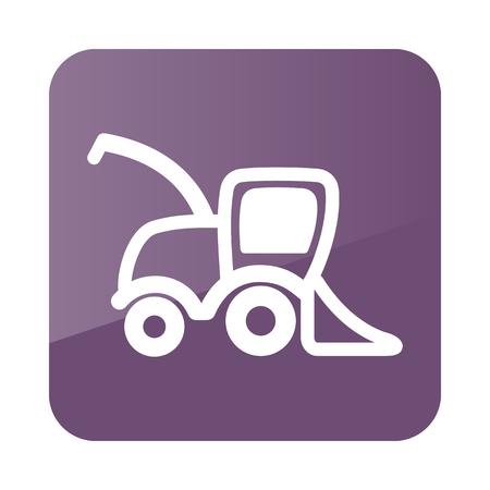 harvester: Combine harvester icon outline. Field. Farm. Vector illustration