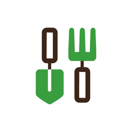 pitchfork: Garden fork, garden shovel, pitchfork, garden tool icon outline.