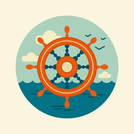 helm: Helm vector icon. Marine, Sea