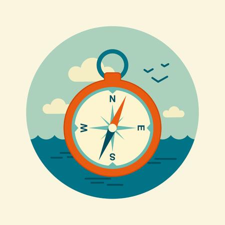 longitude: Compass vector icon. Marine, Sea