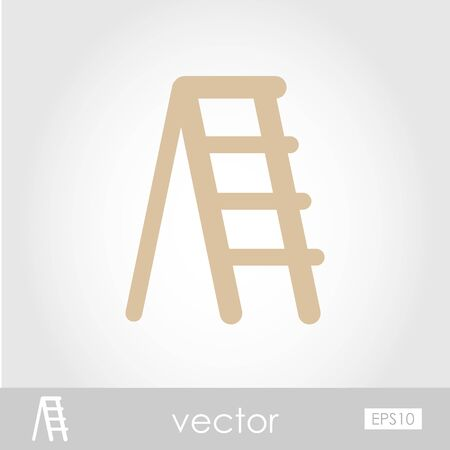 stepladder: Ladder, stepladder, stair, staircase, stairway vector icon outline isolated, garden, eps 10