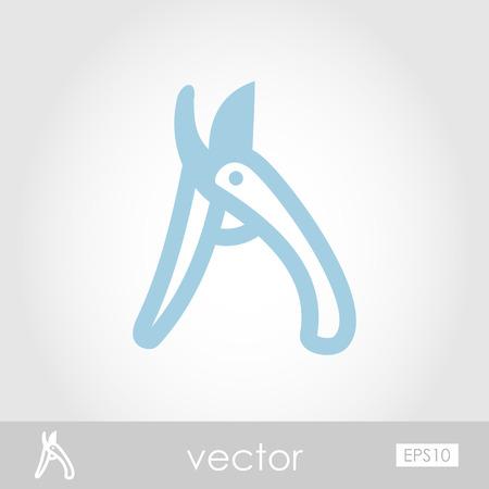 secateurs: Secateurs, pruner, averruncator vector icon outline isolated, garden, eps 10 Illustration