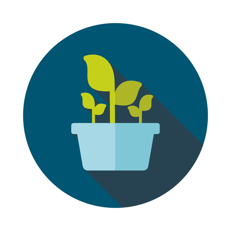 plant pot: Plant in pot flat icon outline isolated, garden, flowerpot. Vector Illustration, eps 10
