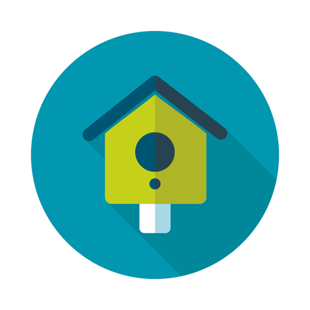nesting box: Nesting box, bird-house flat vector icon outline isolated, garden, eps 10 Illustration