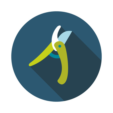 pruning: Secateurs, pruner, averruncator flat vector icon outline isolated, garden, eps 10