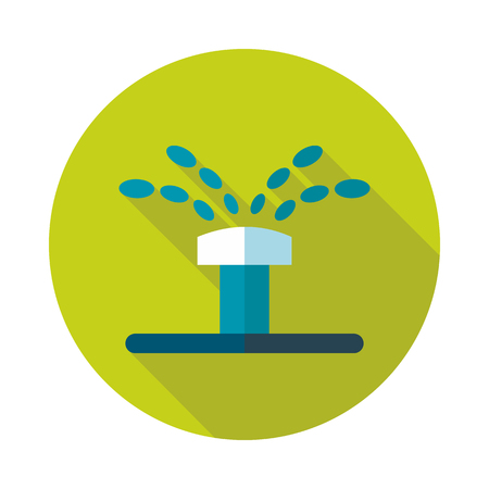 Water sprinkler, irrigation flat vector icon outline isolated, garden, eps 10
