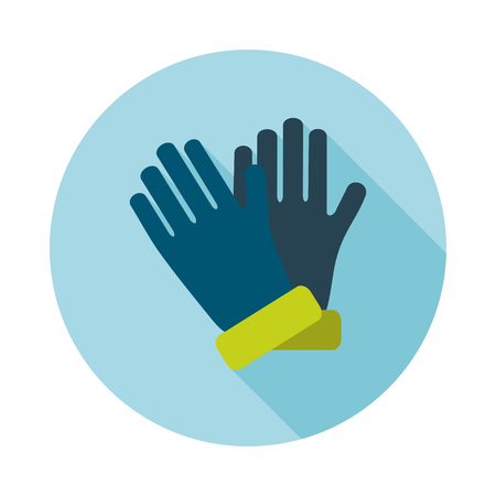 latex glove: Rubber garden gloves flat vector icon. Icon rubber gloves for working in the garden. Icon household rubber gloves. Vector illustration.