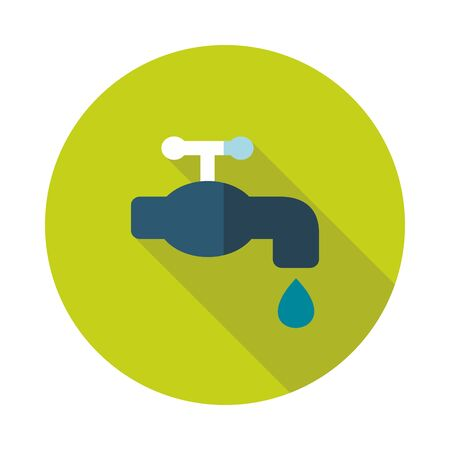 economize: Faucet flat vector icon outline isolated, garden, eps 10 Illustration