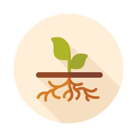raices de plantas: Plant with roots flat vector icon outline isolated, garden, eps 10