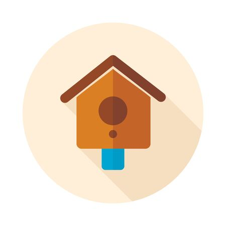 nestling birds: Nesting box, bird-house flat vector icon outline isolated, garden, eps 10 Illustration
