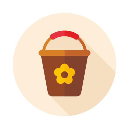 bucketful: Bucket flat vector icon outline isolated, garden, eps 10