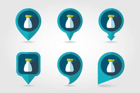 atomizer: Spray bottle with liquid outline isolated, garden, atomizer, pulverizer, sprayer flat pin map icon.