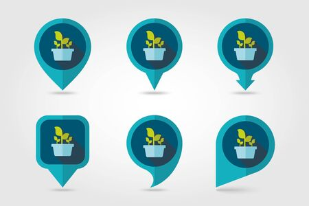 plant pot: Plant in pot flat pin map icon.
