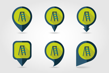 stepladder: Ladder, stepladder, stair, staircase, stairway flat vector pin map icon.