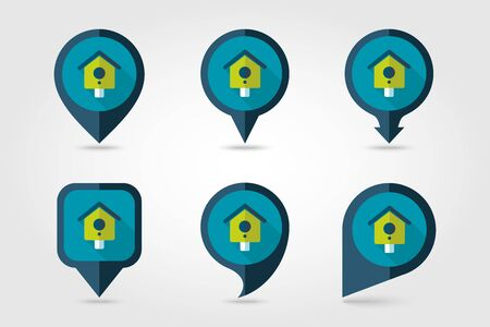 nesting box: Nesting box, bird-house flat vector pin map icon. Illustration
