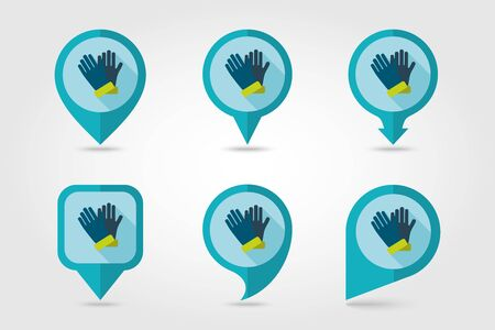 rubber gloves: Rubber garden gloves flat vector pin map icon. Map pointer. Map markers. Icon rubber gloves for working in the garden. Icon household rubber gloves. Vector illustration. Illustration