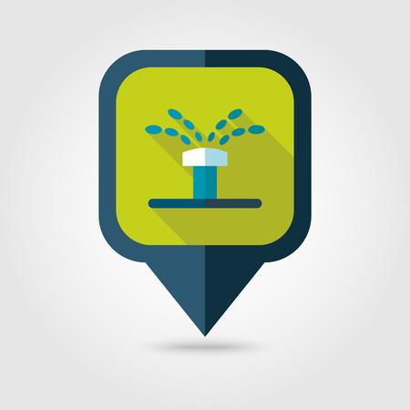 sprinkling: Water sprinkler, irrigation flat vector pin map icon.
