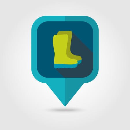 gumboots: Rubber boots, gumboots, wellies flat vector pin map icon. Illustration