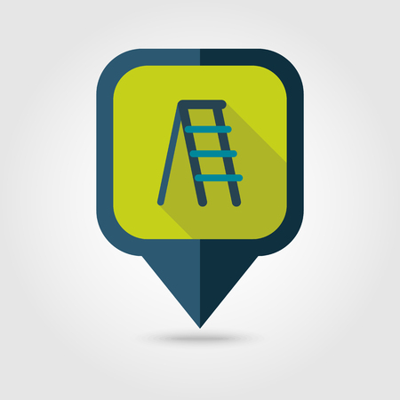 stairway: Ladder, stepladder, stair, staircase, stairway flat vector pin map icon.