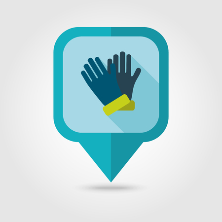 latex glove: Rubber garden gloves flat vector pin map icon. Map pointer. Map markers. Icon rubber gloves for working in the garden. Icon household rubber gloves. Vector illustration. Illustration