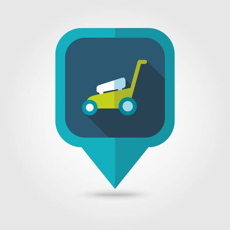 mowers: Lawn Mowers flat vector pin map icon.