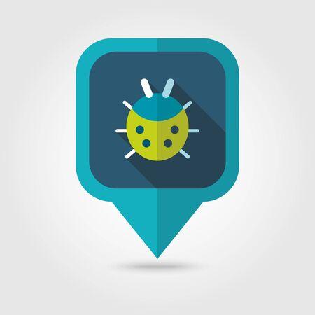 ladybug: Ladybug flat vector pin map icon. Illustration