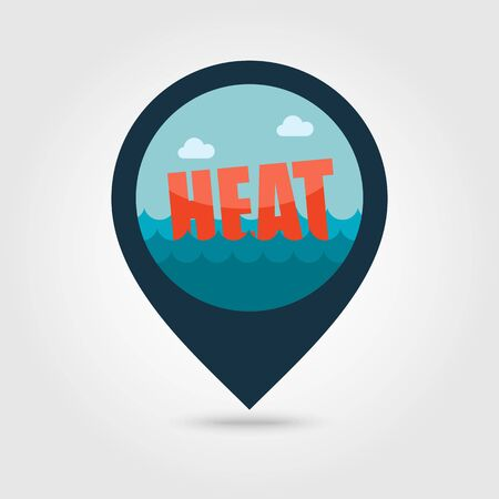 summer heat: Heat vector pin map icon. Beach Map pointer. Summer Map markers. Summertime.