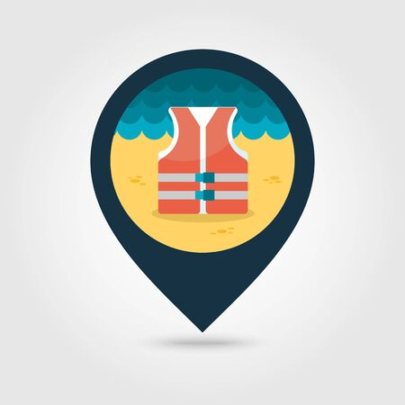 life jackets: Life jacket vector pin map icon. Beach Map pointer. Summer Map markers. Summertime