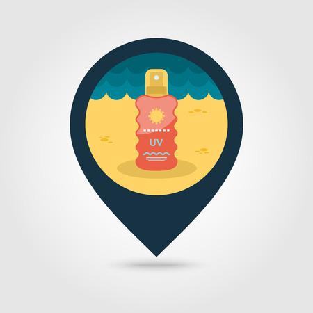 sun cream: Sun Cream in Spray vector pin map icon. Beach Map pointer. Summer Map markers. Summertime.