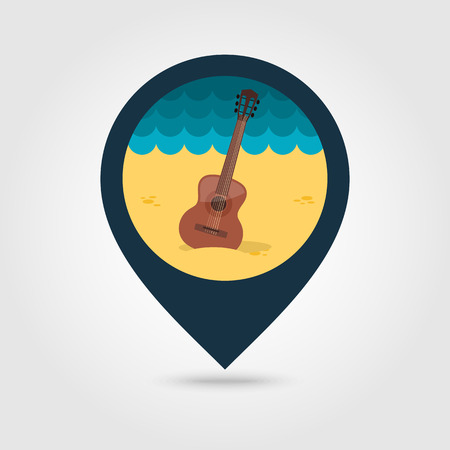 strumming: Guitar Beach vector pin map icon. Beach Map pointer. Summer Map markers. Summertime.