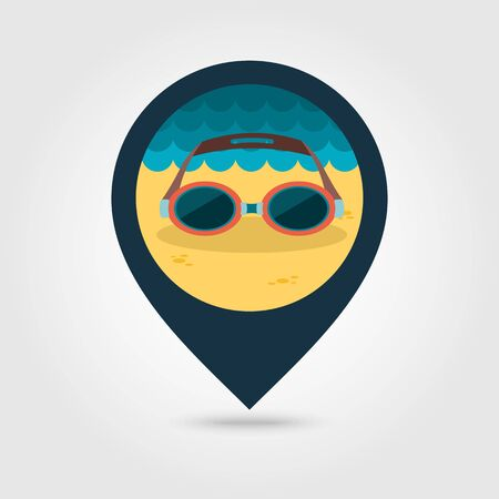 swimming goggles: Swimming Goggles vector pin map icon. Beach Map pointer. Summer Map markers