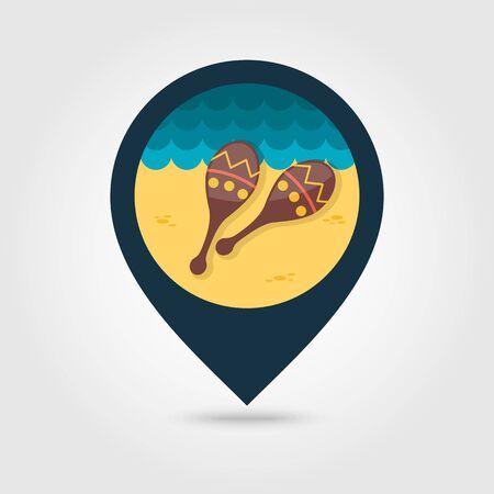 beanbag: Maracas vector pin map icon. Beach Map pointer. Summer Map markers. Summertime.