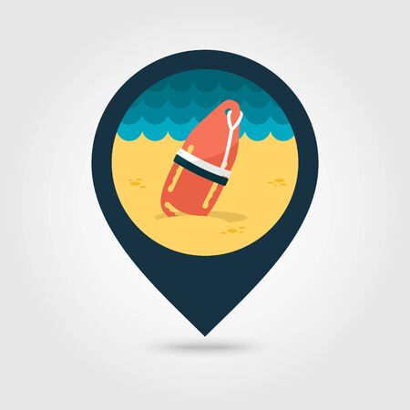 flotation: Support, help and assistance with torpedo rescue lifeguard buoy vector pin map icon. Beach Map pointer. Summer Map markers. Summertime.