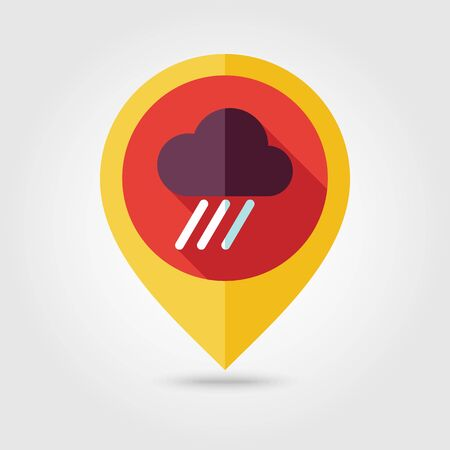 rainfall: RRain Cloud flat pin map icon. Map pointer. Map markers. Downpour, rainfall. Weather. Illustration