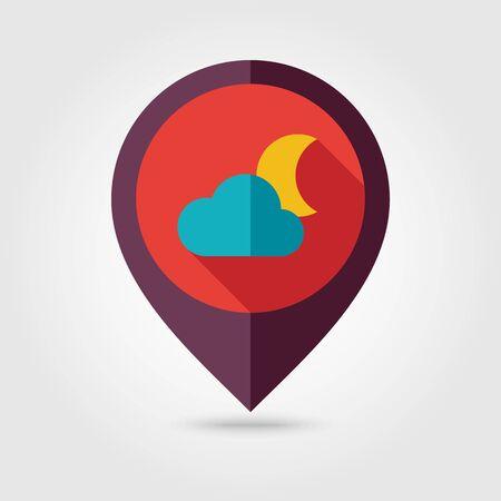 meteorology: Cloud Moon flat pin map icon. Map pointer. Map markers. Sleep dreams symbol. Meteorology. Weather.