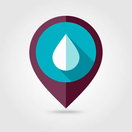 rain drop: Water Rain Drop flat pin map icon. Map pointer. Map markers. Meteorology. Weather.