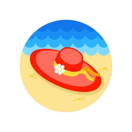 summertime: Beach hat vector icon. Beach. Summer. Summertime.