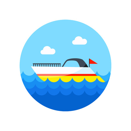 wave tourist: Ship Boat vector icon. Beach. Summer. Summertime.