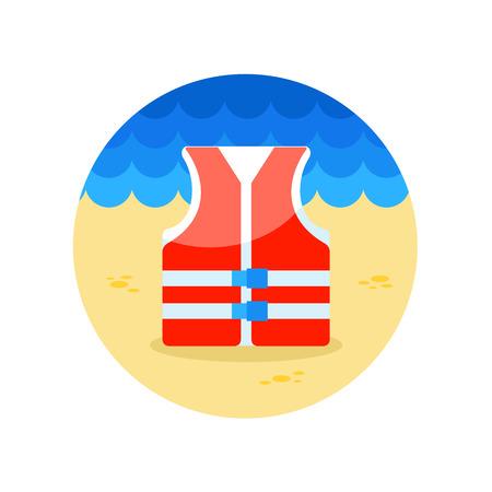 life jacket: Life jacket vector icon. Beach. Summer. Summertime.