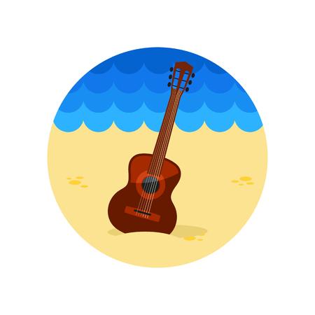 strumming: Guitar Beach vector icon. Beach. Summer. Summertime.