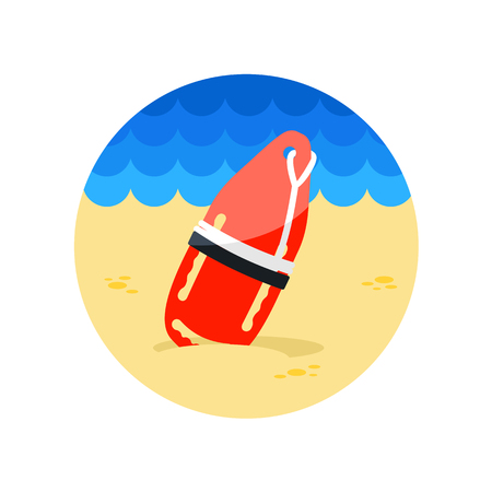 flotation: Support, help and assistance with torpedo rescue lifeguard buoy vector icon. Beach. Summer. Summertime.