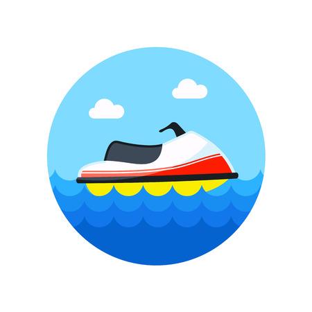 moto acuatica: Jet Ski icono de vector. Playa. Verano. Verano. Vectores