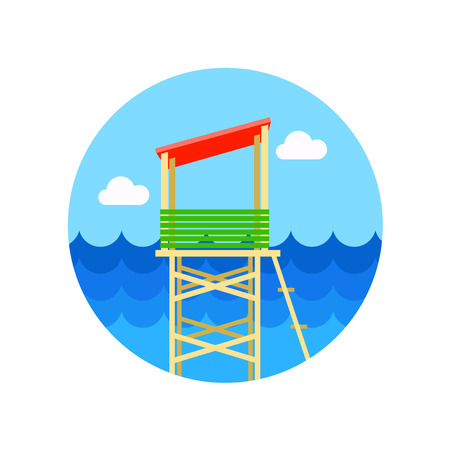 observations: Lifeguard tower vector icon. Beach. Summer. Summertime.