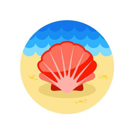 summertime: Seashell vector icon. Beach. Summer. Summertime.