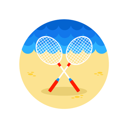 summertime: Badminton Racket vector icon. Beach. Summer. Summertime.