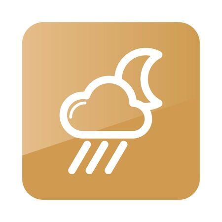 meteorology: Rain Cloud Moon outline icon. Sleep night dreams symbol. Meteorology. Weather. Vector illustration