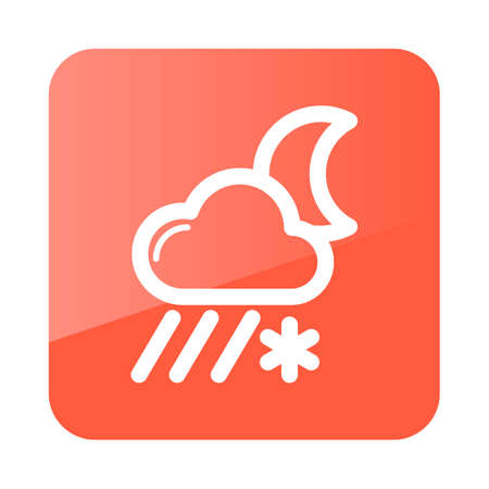 blizzards: Cloud with Snow and Rain Moon outline icon. Sleep night dreams symbol. Meteorology. Weather. Vector illustration eps 10