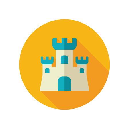 sand castle: Sand Castle vector flat icon. Beach. Summer. Summertime. Vacation Illustration