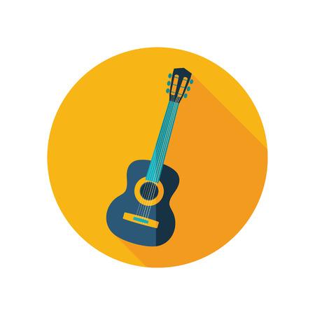 strumming: Guitar Beach vector flat icon. Beach. Summer. Summertime. Vacation